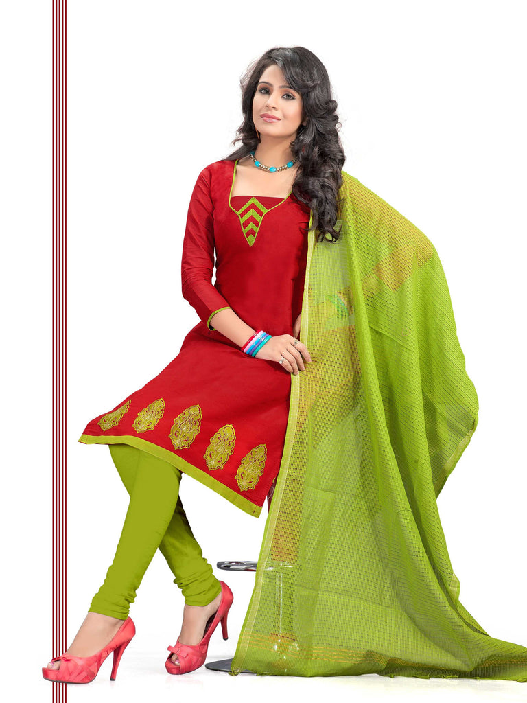 Red Embroidered Chanderi Pure Cotton Unstitched Salwar Kameez
