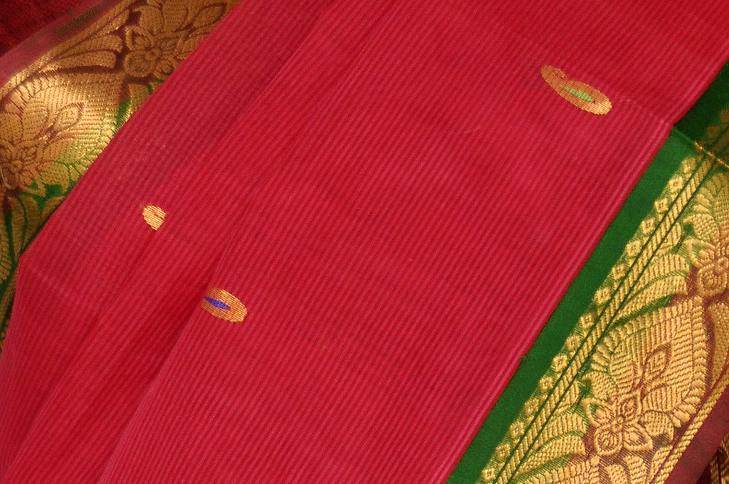 Red Gadwal Silk Border Handloom Pure Cotton Saree