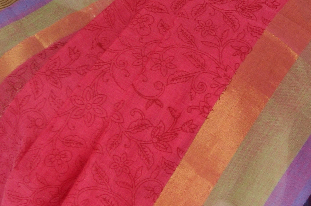 Red Printed Coimbatore Handloom Pure Cotton Saree