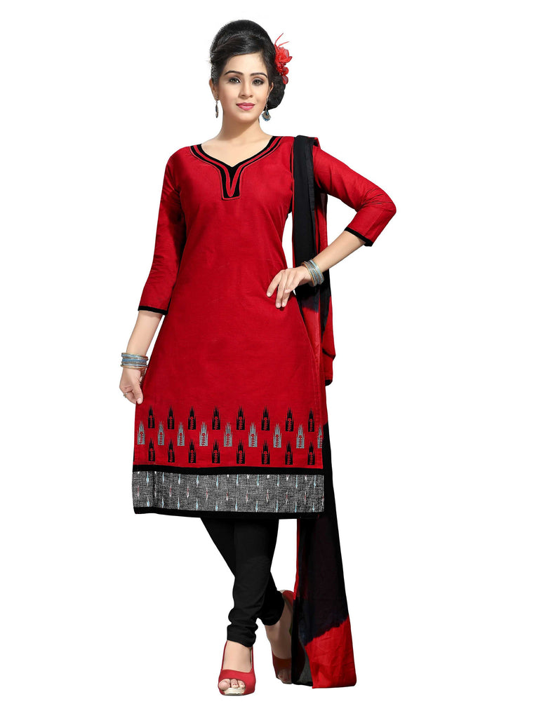 Red Printed Ikat Pure Cotton Unstitched Salwar Kameez 0511240122