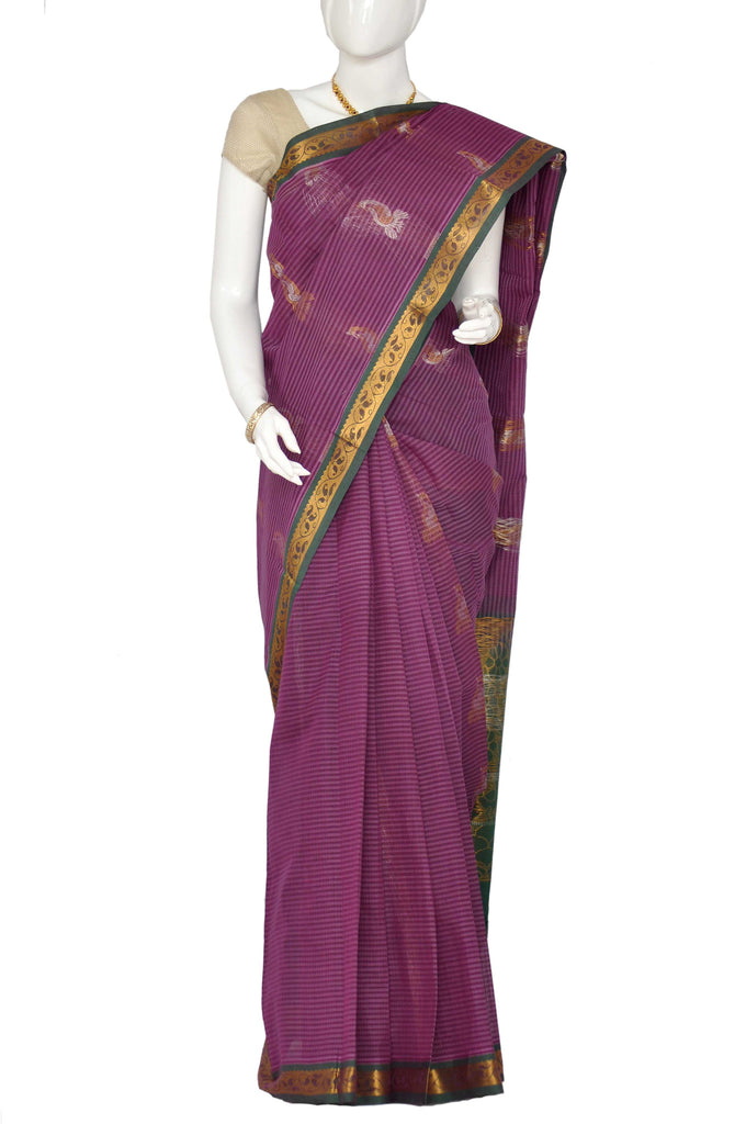 Red Violet Jacquard Kanchipuram Handloom Pure Cotton Saree