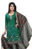 Sea Green Embroidered Ikat Pure Cotton Unstitched Salwar Kameez