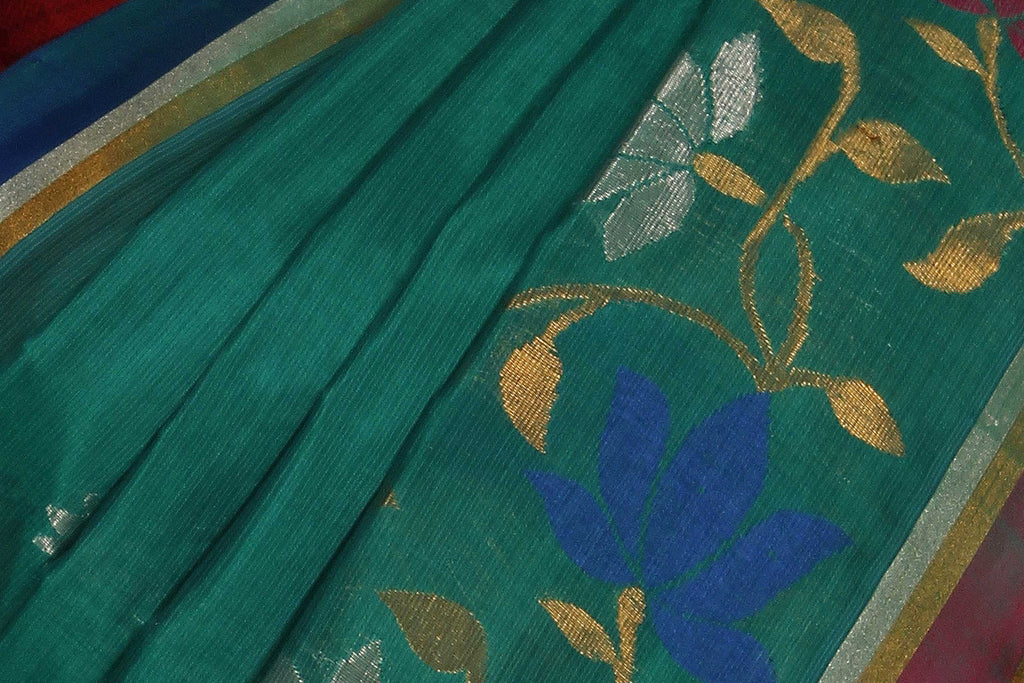 Sea Green Uppada Handloom Pure Silk Cotton Saree