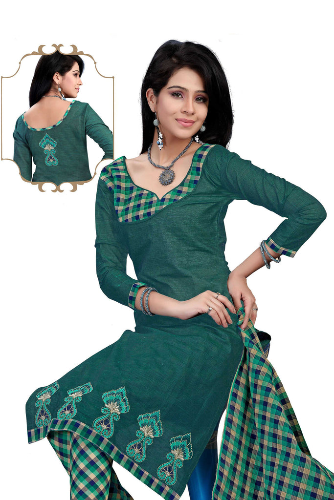 Teal Embroidered South Pure Cotton Unstitched Salwar Kameez