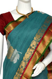 Teal Gadwal Silk Border Handloom Pure Cotton Saree