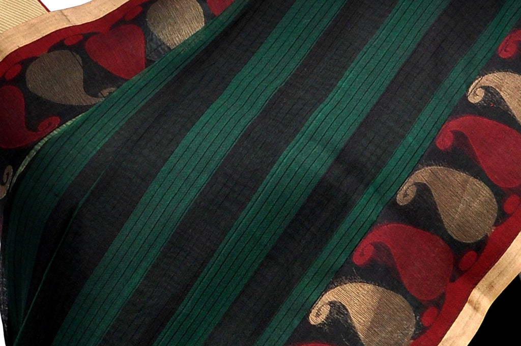Teal Pure Coimbatore Handloom Raw Silk Saree