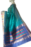 Turquoise Pure Coimbatore Handloom Raw Silk Saree