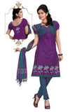 Violet Embroidered South Pure Cotton Unstitched Salwar Kameez
