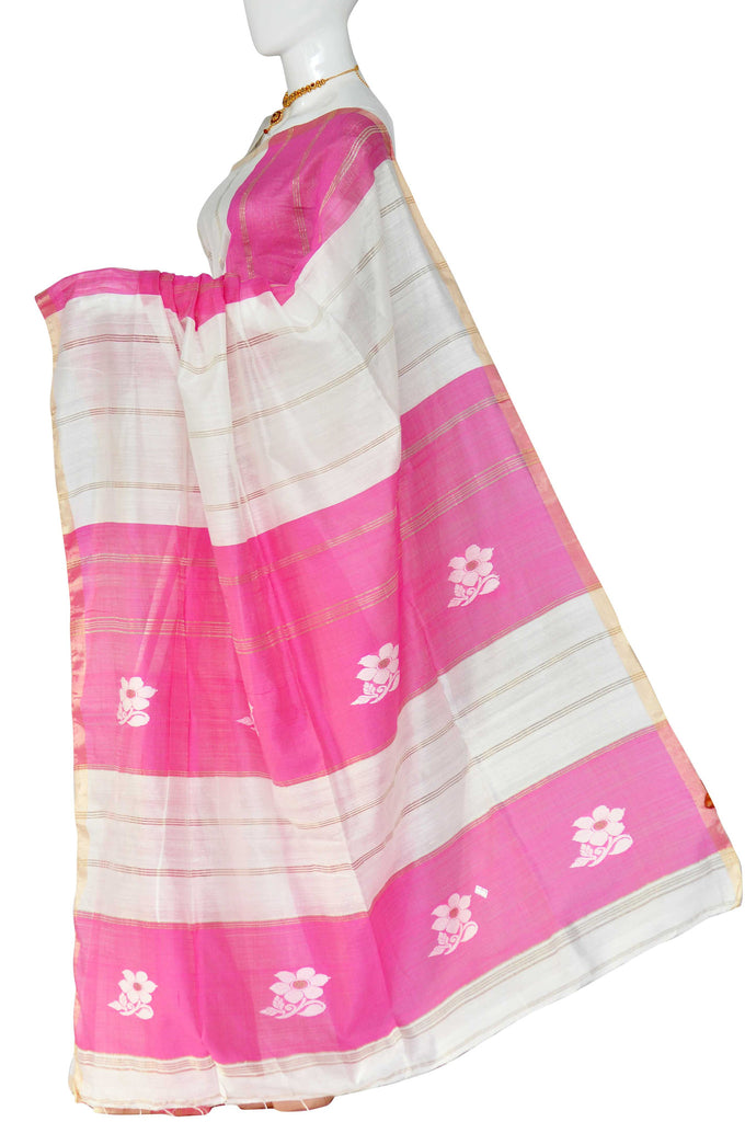 White & Pink Dhaka Handloom Pure Cotton Saree