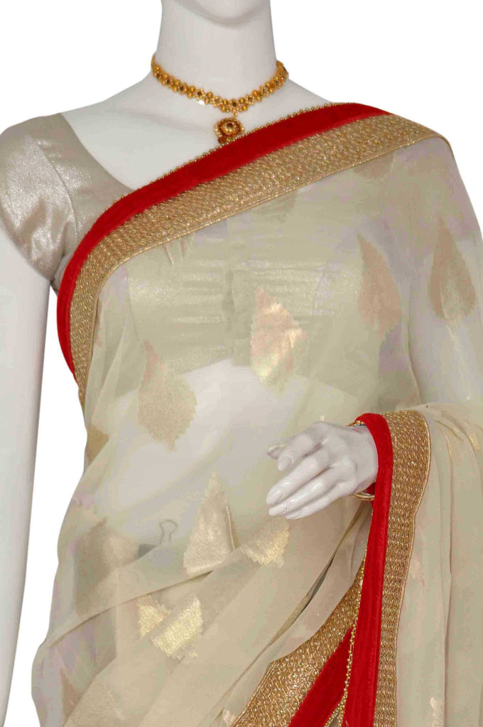 White Pure Georgette Saree
