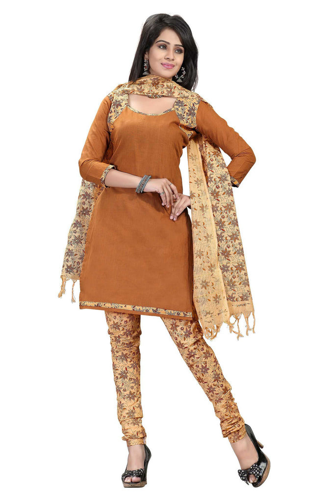 Yellow Brown Printed Kalamkari Pure Cotton Unstitched Salwar Kameez