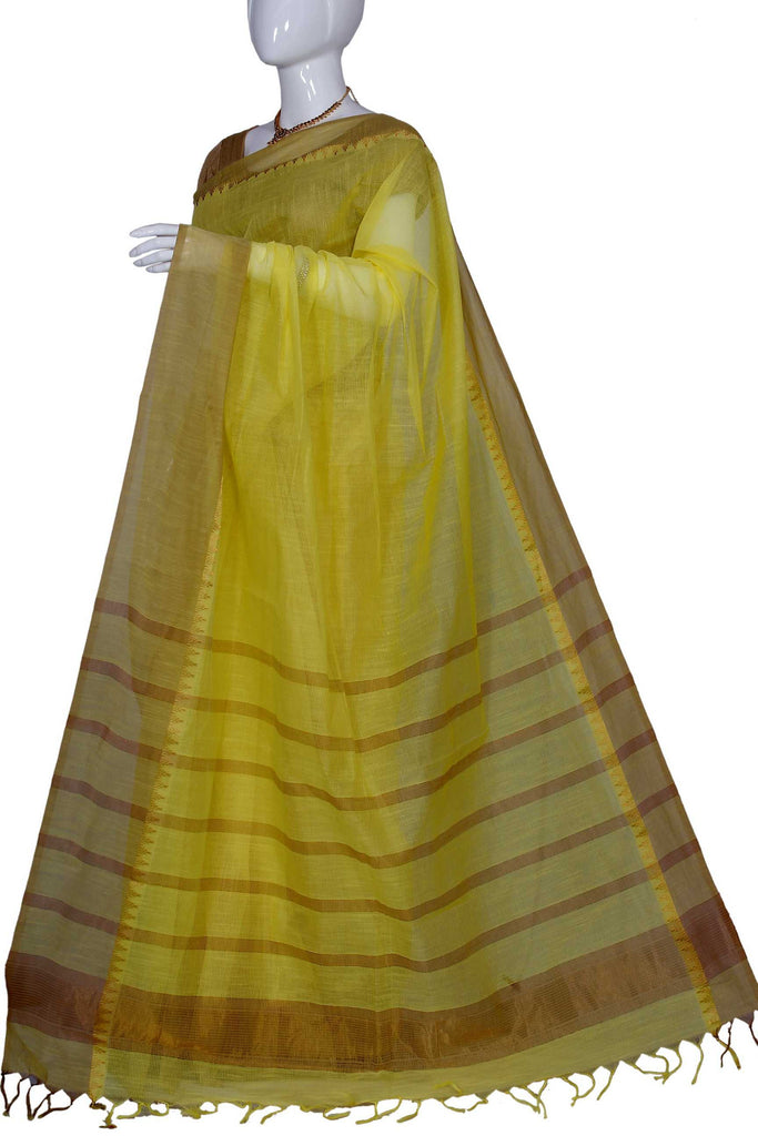 Yellow Coimbatore Handloom Pure Cotton Saree