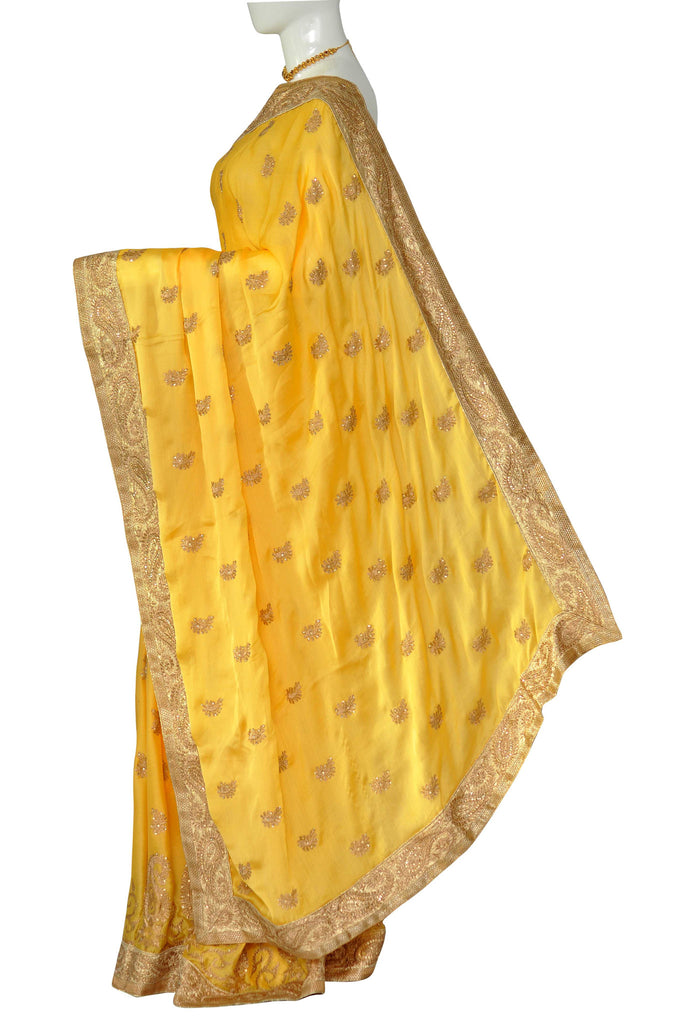 Yellow Embroidered Pure Crepe Silk Saree