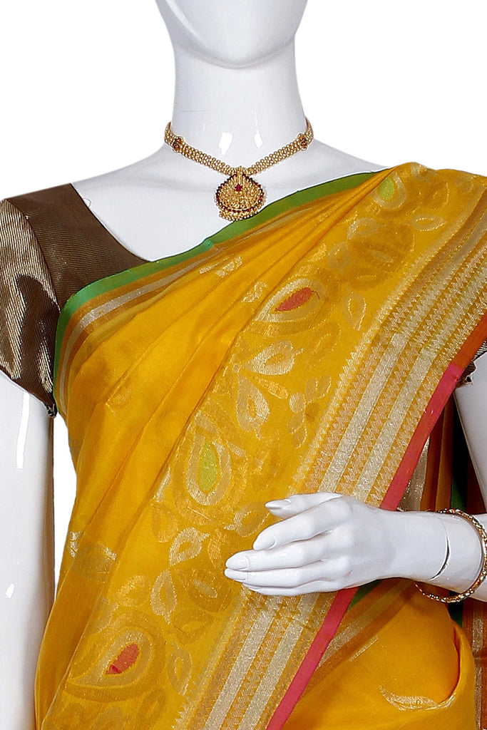 Yellow Ikat Handloom Pure Silk Cotton Saree