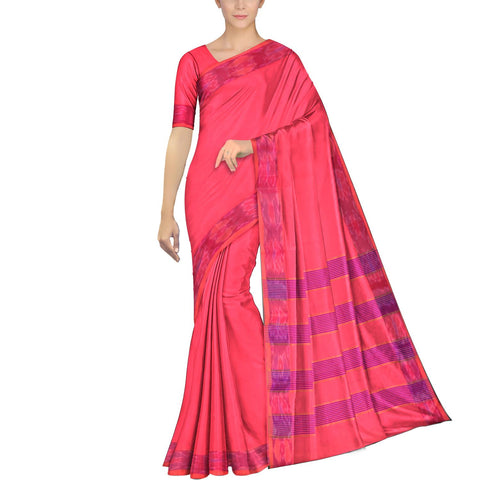 Watermelon Pink Ksheerapuri Plain Weave Polyster Plain body with Ikkat border Saree
