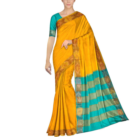 Saffron Ksheerapuri Plain Weave Polyster Plain body with Ikkat border Saree