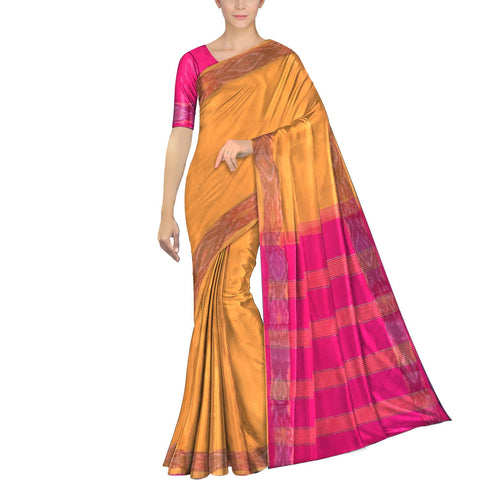 Orange Ksheerapuri Plain Weave Polyster Plain body with Ikkat border Saree
