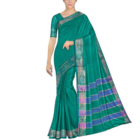 Medium Sea Green Ksheerapuri Plain Weave Polyster Plain body with Ikkat border Saree