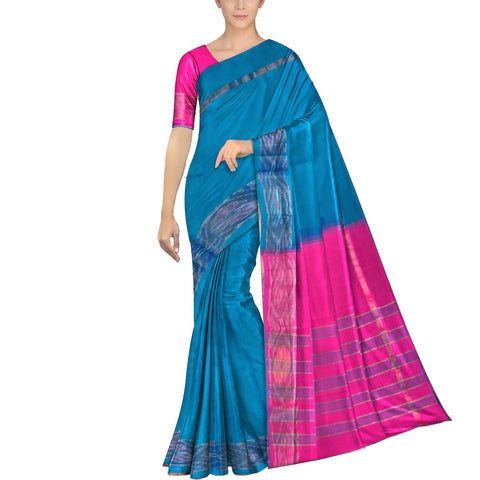 Teal Ksheerapuri Plain Weave Polyster Plain body with Ikkat border Saree