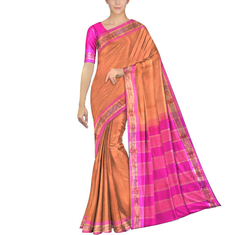 Deep Peach Ksheerapuri Plain Weave Polyster Plain body with Ikkat border Saree