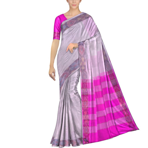Milk White Ksheerapuri Plain Weave Polyster Plain body with Ikkat border Saree
