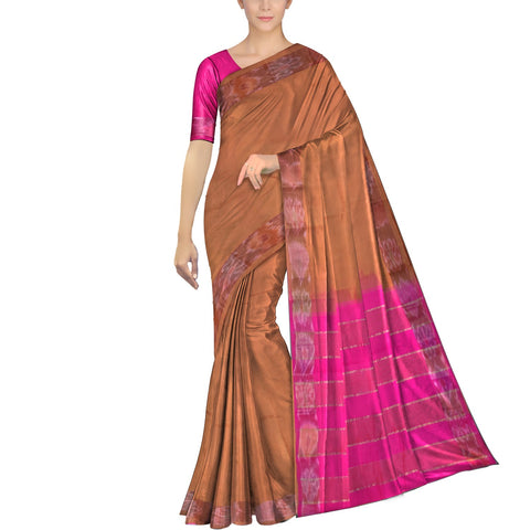 Rust Ksheerapuri Plain Weave Polyster Plain body with Ikkat border Saree