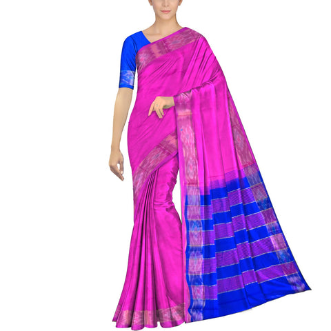 Magenta Ksheerapuri Plain Weave Polyster Plain body with Ikkat border Saree