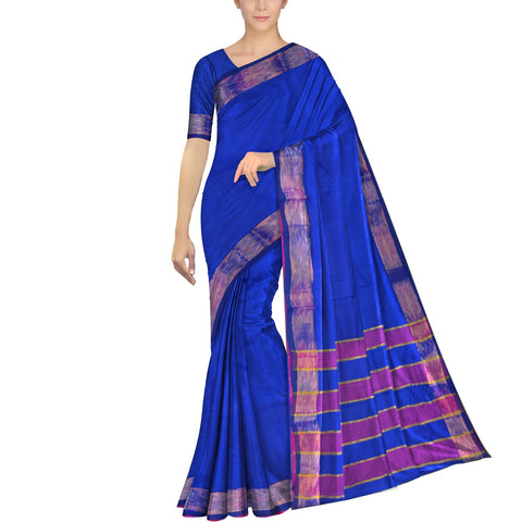 Cobalt Blue Ksheerapuri Plain Weave Polyster Plain body with Ikkat border Saree