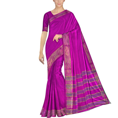 Crimson Ksheerapuri Plain Weave Polyster Plain body with Ikkat border Saree