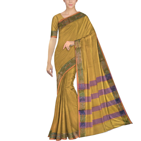 Orange Gold Ksheerapuri Plain Weave Polyster Plain body with Ikkat border Saree