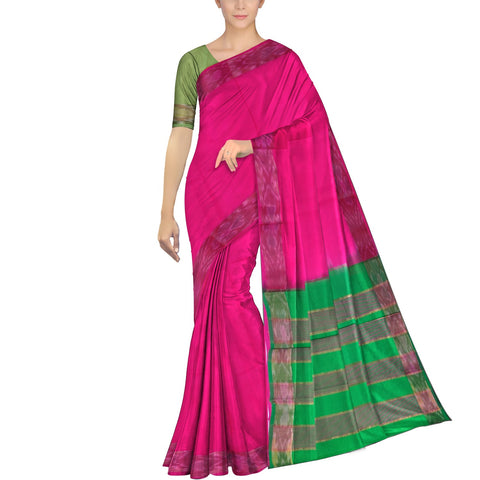 Deep Pink Ksheerapuri Plain Weave Polyster Plain body with Ikkat border Saree
