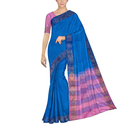 Silk Blue Ksheerapuri Plain Weave Polyster Plain body with Ikkat border Saree