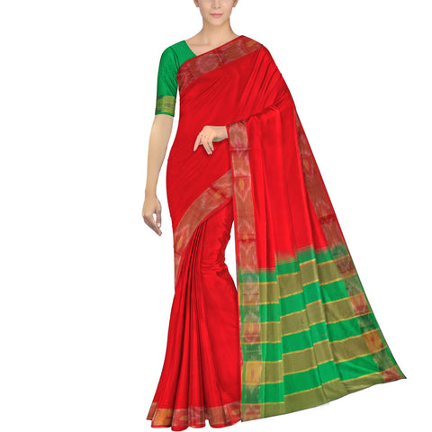 Red Ksheerapuri Plain Weave Polyster Plain body with Ikkat border Saree