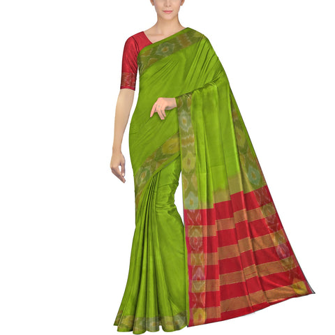 Parrot Green Ksheerapuri Plain Weave Polyster Plain body with Ikkat border Saree