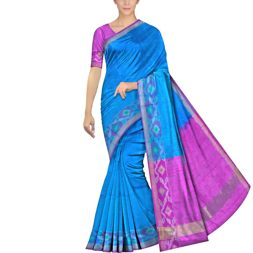 Crystal Blue Mangalagiri  Pochampally Small body checks pochampally border Saree