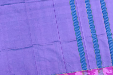 Light Slate Blue Ksheerapuri Plain Weave Polyster Plain body with Ikkat border Saree