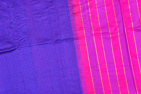 Blue Violet Ksheerapuri Plain Weave Polyster Plain body with Ikkat border Saree