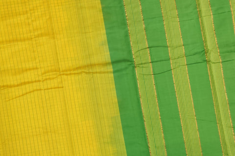 Bright Gold Ksheerapuri Plain Weave Polyster Plain body with Ikkat border Saree