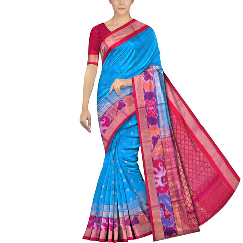 Deep Sky Blue Pochampally Kuppadam Pochampally border zari lines lotus flower Saree
