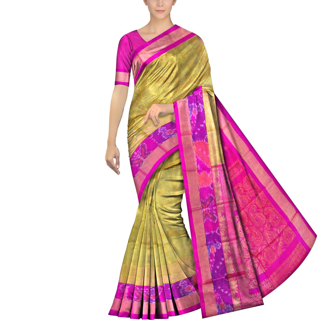 Tea Green Pochampally Kuppadam Pochampally border zari lines lotus flower Saree