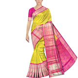 Corn Yellow Kanchi Kuppadam flower and mango zari motifs Kuppadam Saree