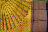 Mustard Kanchi Half and half body zari buta Handweave Saree