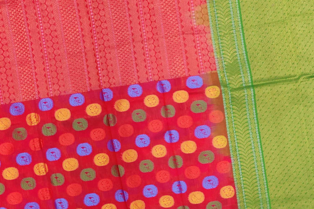 Red Kanchi Half and half body zari buta Handweave Saree