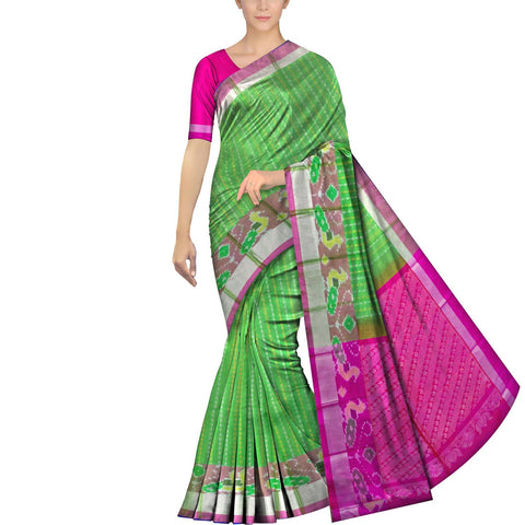 Parrot Green Pochampally Pochampally Small allover zari buta pochampally border Saree