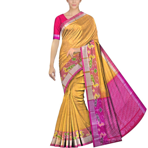 Mustard Pochampally Pochampally Small allover zari buta pochampally border Saree