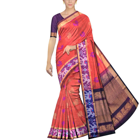 Coral Pochampally Kuppadam Kuppadam pochampally body thread buta Saree
