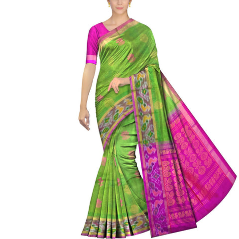Pistachio Green Pochampally Kuppadam Kuppadam pochampally body thread buta Saree