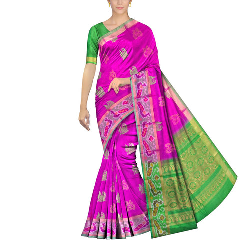 Neon Pink Pochampally Kuppadam Kuppadam pochampally body thread buta Saree