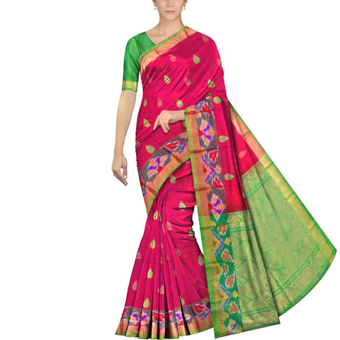 Red Pochampally Kuppadam Kuppadam pochampally body thread buta Saree