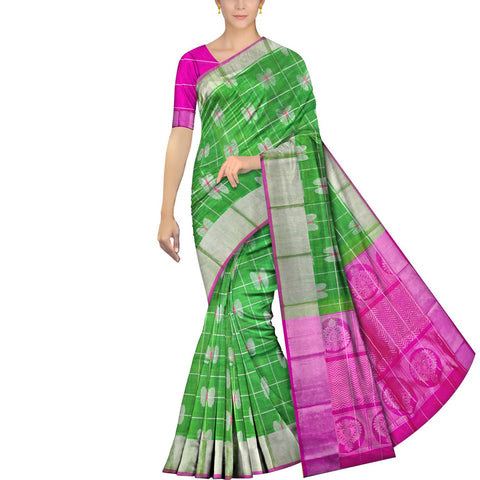 Parrot Green Kanchi Butterfly body checks kaddi border Handweave Saree